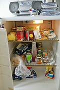 A look inside the Madsen family's refrigerator. (Supporting image from the project Hungry Planet: What the World Eats.)