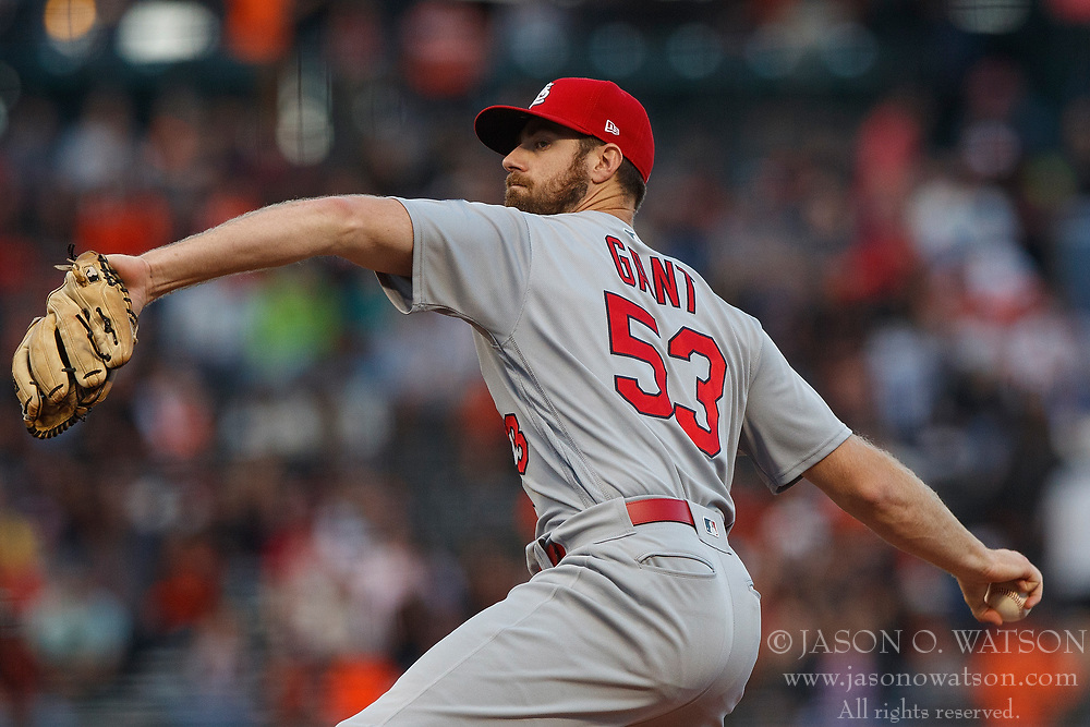 SAN FRANCISCO, CA - JULY 06: John Gant #53 of the St. Louis Cardinals pitches against the San Francisco Giants during the first inning at AT&T Park on July 6, 2018 in San Francisco, California. The San Francisco Giants defeated the St. Louis Cardinals 3-2. (Photo by Jason O. Watson/Getty Images) *** Local Caption *** John Gant