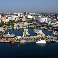 Aerial photo of Biscayne Bay and Miami's Bayside Marketplace including the Miami Marina