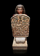 Ancient Egyptian stelophorus statue of Amenemipet, limestone, New Kingdom, 18th Dynasty, (1539-1292 BC), Deir el Medina, tomb of Ibu. Egyptian Museum, Turin. Cat 3038. black background .<br /> <br /> If you prefer to buy from our ALAMY PHOTO LIBRARY  Collection visit : https://www.alamy.com/portfolio/paul-williams-funkystock/ancient-egyptian-art-artefacts.html  . Type -   Turin   - into the LOWER SEARCH WITHIN GALLERY box. Refine search by adding background colour, subject etc<br /> <br /> Visit our ANCIENT WORLD PHOTO COLLECTIONS for more photos to download or buy as wall art prints https://funkystock.photoshelter.com/gallery-collection/Ancient-World-Art-Antiquities-Historic-Sites-Pictures-Images-of/C00006u26yqSkDOM