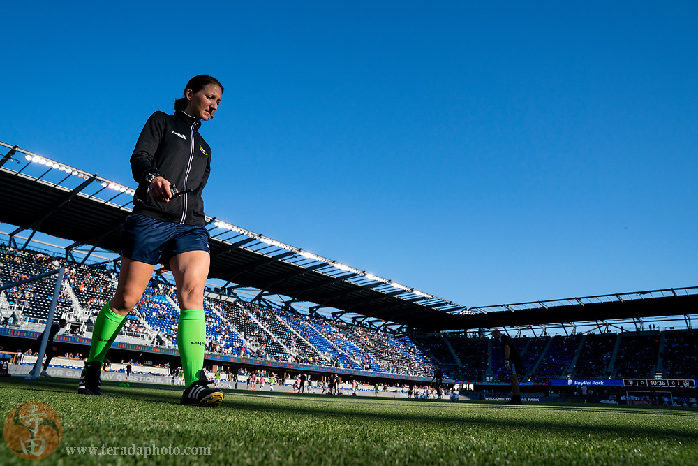 June 26, 2021; San Jose, California, USA; MLS referee Danielle Chesky before the match between the San Jose Earthquakes and the Los Angeles Galaxy at PayPal Park.