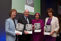 14/01/2015<br /> (L-R) Mary Robinson, UN Secretary-General's Special Envoy on Climate Change, Charlie Flanagan, TD, Minister for Foreign Affairs and Trade, Amina Mohammed, UN Secretary-General's Special Adviser on Post-2015 Development Planning and Joan Burton, TD, Tánaiste launch the second National Action Plan on Women, Peace and Security at Dublin Castle.<br /> PIC - LENSMEN PHOTOGRAPHY<br /> 14TH JANUARY 2015