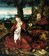 The Rest on the Flight into Egypt' Oil on canvas.   Barend van Orley (1487/1491-1541) Flemish Northern Renaissance painter. Madonna in red cloak embraces the infant Jesus. Joseph holds out a fruit. Holy Family  Religion Christian