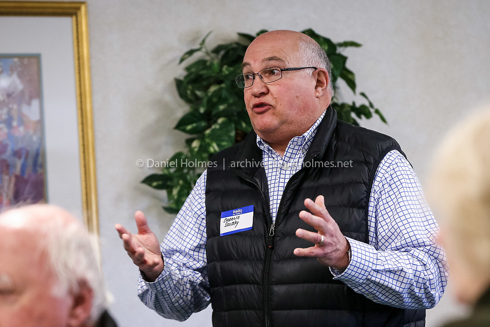 (3/13/16, FRAMINGHAM, MA) Incumbent Charlie Sisitsky, running for Board of Selectmen, speaks during the annual candidates' breakfast  sponsored by the Framingham Town Democratic Committee at Framingham Green in Framingham on Sunday. Daily News and Wicked Local Photo/Dan Holmes