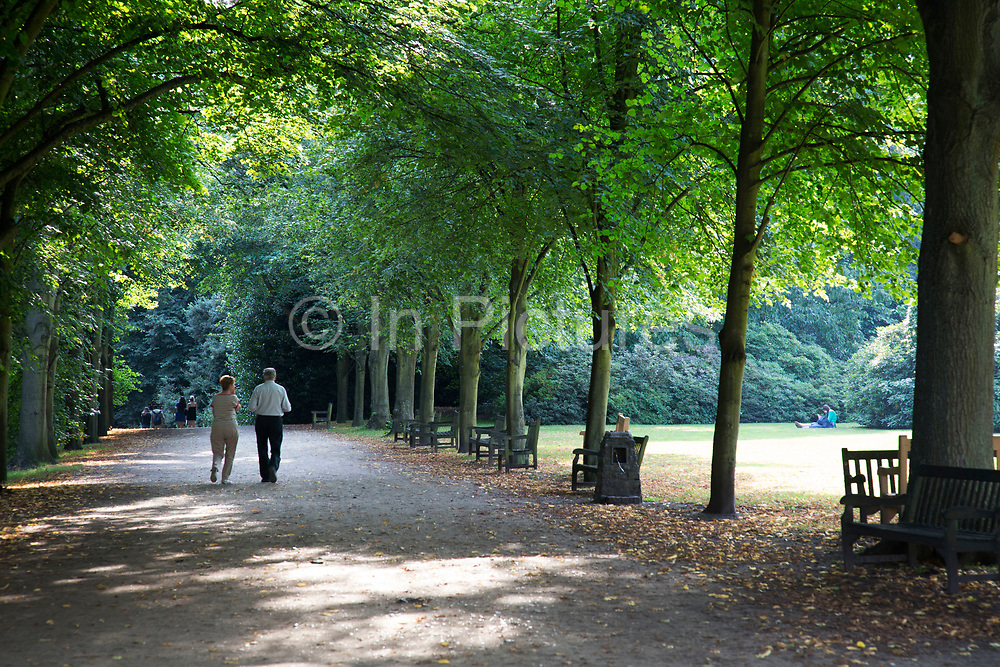 """Walking along an avenue of trees. Hampstead Heath (locally known as """"the Heath"""") is a large, ancient London park, covering 320 hectares (790acres). This grassy public space is one of the highest points in London, running from Hampstead to Highgate. The Heath is rambling and hilly, embracing ponds, recent and ancient woodlands."""