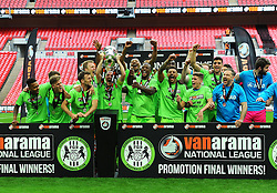 Forest Green Rovers players celebrate promotion to the football league - Mandatory by-line: Nizaam Jones/JMP - 14/05/2017 - FOOTBALL - Wembley Stadium- London, England - Forest Green Rovers v Tranmere Rovers - Vanarama National League Final