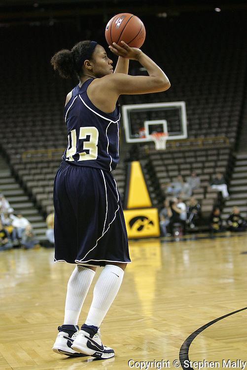 28 NOVEMBER 2007: Georgia Tech guard Chioma Nnamaka (43) puts up a shot in the second half of Georgia Tech's 76-57 win over Iowa in the Big Ten/ACC Challenge at Carver-Hawkeye Arena in Iowa City, Iowa on November 28, 2007.