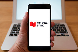 Using iPhone smart phone to display website logo of National Bank of Canada