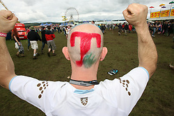 A T in the Park fan in the main arena at T in the Park, Saturday 7 July 2007..T in the Park festival took place on the 6th, 7th and 8 July 2007, at Balado, near Kinross in Perth and Kinross, Scotland. This was the first time the festival had been held over three days..Pic ©2011 Michael Schofield. All Rights Reserved..