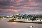 Looking toward the Back Bay and Fashion Island, Newport Beach, Orange County, California.