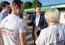 © Licensed to London News Pictures. 15/07/2013 London, UK. Deputy Prime Minister, Nick Clegg meets members of of the London 2018 Gay Games Bid committee, Barn Elms Boathouse, Barnes, London. Photo credit : Simon Jacobs/LNP