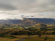 High-angle view of the Kawarau River Valley, looking southwest from Skipper's Saddle, on the road to Coronet Peak ski area, near Queenstown, Otago, New Zealand