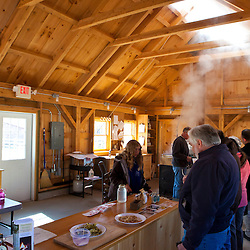 Inside the sugar house at the Remick Farm in Tamworth, New Hampshire.
