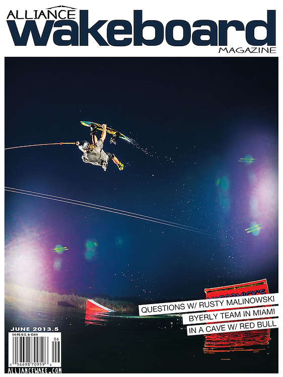 Alex Graydon on the cover of Alliance Wakeboard Magazine.