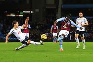 Aly Cissokho of Aston Villa strikes the post with a shot on goal - Aston Villa vs. Tottenham Hotspurs - Barclay's Premier League - Villa Park - Birmingham - 02/11/2014 Pic Philip Oldham/Sportimage