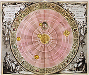 Copernican sun-centred (Heliocentric) system of universe showing orbit of earth and planets round the sun, including Jupiter and its moons. Figure on bottom right represents Copernicus. From Andreas Cellarius 'Harmonia Macrocsmica', Amsterdam, 1708. Hand-coloured engraving.