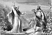 Elijah, Old Testament prophet, denouncing Ahab, idolatrous king of Israel,  in Naboth's vineyard. 'Bible' I Kings. Engraving