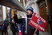Protester Steve Bray sings a song in support of the EU as President of the EU Commission, Ursula von der Leyen leaves Europe House, the European Parliament Liason office in the UK in Westminster before her meeting with the Prime Minister to discuss the impending negotioations and timeframe for the UKs withdrawal from the EU, on 8th January 2020 in London, England, United Kingdom. Ursula Gertrud von der Leyen is a German politician and the President of the European Commission since 1 December 2019.