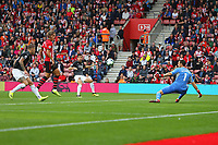 Football - 2018 / 2019 Premier League - Southampton vs. Burnley<br /> <br /> Jack Cork of Burnley fires past Southampton's Alex McCarthy only for the goal to be ruled out for offside at St Mary's Stadium Southampton<br /> <br /> COLORSPORT/SHAUN BOGGUST