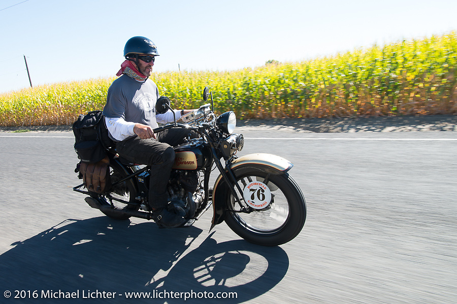 """Robert Gustavsson or """"Big Swede"""" as he is fondly known, riding his 1931 Harley-Davidson VL during Stage 15 (244 miles) of the Motorcycle Cannonball Cross-Country Endurance Run, which on this day ran from Lewiston, Idaho to Yakima, WA, USA. Saturday, September 20, 2014.  Photography ©2014 Michael Lichter."""