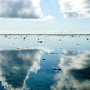 Clouds reflecting on the glassy surface of Lady Elliot Island's lagoon.
