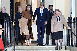 © Licensed to London News Pictures. 07/01/2020. London, UK. Prince Harry, Duke of Sussex and Meghan, Duchess of Sussex (2nd from Left) leave Canada House in London after meeting  Janice Charette (R), High Commissioner for Canada to the UK and the staff. Photo credit: Dinendra Haria/LNP