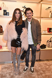 Missi Beqiri and Jake Hall at a party to celebrate the launch of the new Furla Flagship store, 71 Brompton Road, London England. 2 February 2017.