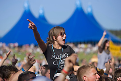 Fan of The Dykeenies wearing a Radio Clyde t-shirt at the Main stage. the main stage. Rockness, Sunday 8th June 2008..Pic © Michael Schofield. All Rights Reserved.
