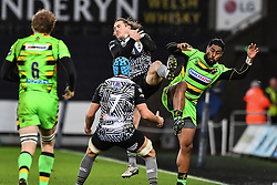 Ospreys' Jeff Hassler claims the high ball<br /> <br /> Photographer Craig Thomas/Replay Images<br /> <br /> EPCR Champions Cup Round 4 - Ospreys v Northampton Saints - Sunday 17th December 2017 - Parc y Scarlets - Llanelli<br /> <br /> World Copyright © 2017 Replay Images. All rights reserved. info@replayimages.co.uk - www.replayimages.co.uk