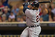 Prince Fielder (28) of the Detroit Tigers bats during a game against the Minnesota Twins on August 14, 2012 at Target Field in Minneapolis, Minnesota.  The Tigers defeated the Twins 8 to 4.  Photo: Ben Krause