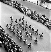17/03/1959<br /> 03/17/1959<br /> 17 March 1959<br /> St. Patricks Day Parade in Dublin. Image shows the Emerald Girl pipe band parading. Photos, Photo, Snap, Streets, Street,