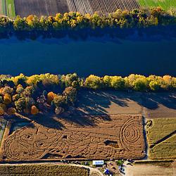 A Louis Armstrong corn maze near the Connecticut River in Sunderland, Massachusetts.