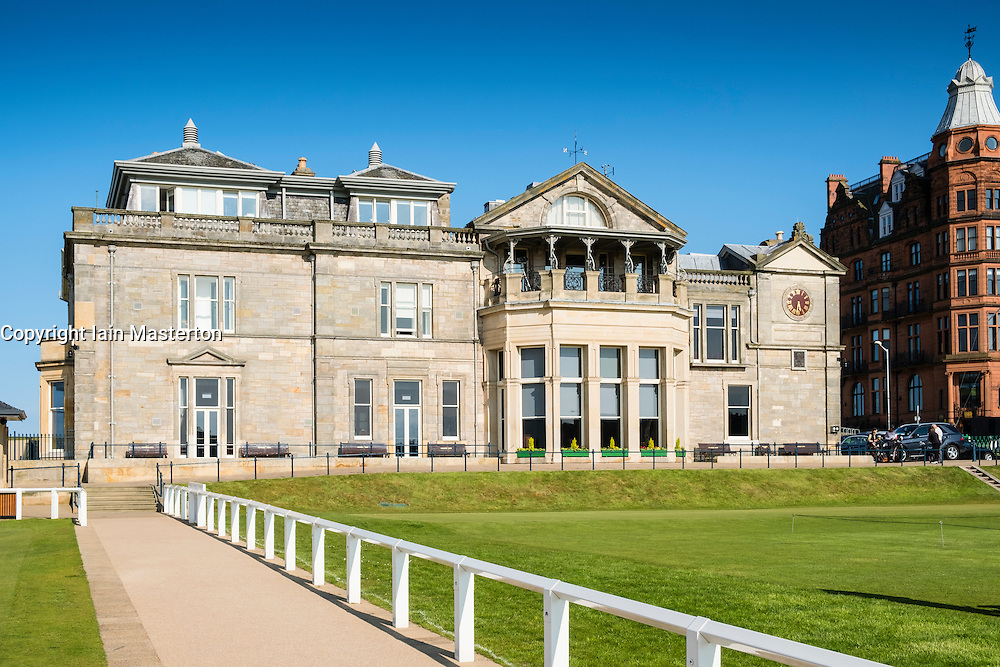 View of Royal and Ancient Clubhouse at the Old Course in St Andrews in Fife , Scotland, United Kingdom