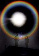 V. 15. Valencia, 03/10/2005. Dos figuras de buzo aguardan bajo el sol durante el eclipse anular que se ha podido observar en gran parte de la peninsula y que no se ha visto en España desde el 1 de abril de 1764. EFE/Kai Försterling.