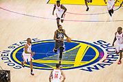 Golden State Warriors forward Kevin Durant (35) handles the ball against the Houston Rockets during Game 4 of the Western Conference Finals at Oracle Arena in Oakland, Calif., on May 22, 2018. (Stan Olszewski/Special to S.F. Examiner)
