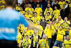 Ose, fans of Gorenje during handball match between RK Gorenje Velenje and HSV Hamburg (GER) in 8th Round of EHF Champions League 2014 on February 5, 2014 in Rdeca Dvorana, Velenje, Slovenia. Photo by Vid Ponikvar / Sportida