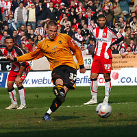 Photo: Kevin Poolman.<br />Wolverhampton Wanderers v Southampton. Coca Cola Championship. 31/03/2007. Michael Kightly of Wolves has his penalty saved.