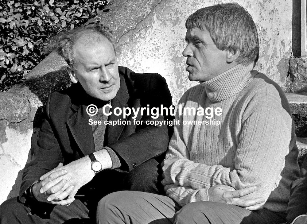 USA-born Father Daniel Berrigan, Roman Catholic, Jesuit priest, anti Vietnam War protestor, during a visit to N Ireland, meets Father Des Wilson, West Belfast priest, involved in the N Ireland Civil Rights movement; 197509260663b; 663/75.<br /> <br /> Copyright Image from Victor Patterson, Belfast, UK<br /> <br /> t: +44 28 9066 1296 (from Rep of Ireland 048 9066 1296)<br /> m: +44 7802 353836<br /> e: victorpattersonbelfast@gmail.com<br /> <br /> www.images4media.com<br /> <br /> Please see my full Terms and Conditions of Use at https://www.images4media.com/p/terms-conditions - it is IMPORTANT that you familiarise yourself with them.<br /> <br /> Images used online incur an additional cost. This cost should be agreed in writing in advance. Online images must be visibly watermarked i.e. © Victor Patterson or that of the named photographer within the body of the image. The original metadata must not be deleted from images used online.<br /> <br /> This image is only available for the use of the download recipient i.e. television station, newspaper, magazine, book publisher, etc, and must not be passed on to a third party. It is also downloaded on condition that each and every usage is notified within 7 days to victorpattersonbelfast@gmail.com.<br /> <br /> The right of Victor Patterson (or the named photographer) to be identified as the author is asserted in accordance with The Copyright Designs And Patents Act (1988). All moral rights are asserted.