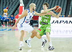 Nick Calathes of Greece vs Jaka Klobucar of Slovenia during basketball match between Slovenia vs Greece at Day 5 in Group C of FIBA Europe Eurobasket 2015, on September 9, 2015, in Arena Zagreb, Croatia. Photo by Vid Ponikvar / Sportida
