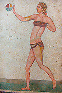 Roman mosaics of a women in a bikini exercising with a ball, from the Room of the Ten Bikini Girls, room no 30 , at the Villa Romana del Casale which containis the richest, largest and most complex collection of Roman mosaics in the world. Constructed  in the first quarter of the 4th century AD. Sicily, Italy. A UNESCO World Heritage Site. .<br /> <br /> If you prefer to buy from our ALAMY PHOTO LIBRARY  Collection visit : https://www.alamy.com/portfolio/paul-williams-funkystock/villaromanadelcasale.html<br /> Visit our ROMAN MOSAICS PHOTO COLLECTIONS for more photos to buy as buy as wall art prints https://funkystock.photoshelter.com/gallery/Roman-Mosaics-Roman-Mosaic-Pictures-Photos-and-Images-Fotos/G00008dLtP71H_yc/C0000q_tZnliJD08