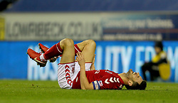 Charlton Athletic's Johnnie Jackson lies on the pitch after a challenge