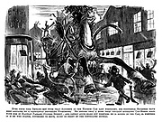 Ever since poor Jenkins met with that accident in the hansom cab last fortnight, his nocturnal slumbers have been agitated by a constantly recurring nightmare. He dreams that a more than usually appalling cab-horse bolts with him in Hanway Passage (Oxford Street); And cannot quite make out whether he is riding in the cab, or whether it is he who stands, powerless to move, right in front of the infuriated animal.