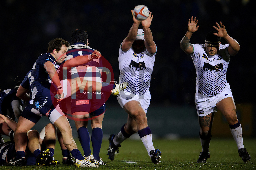 Bristol Scrum-Half (#9) James Grindal (capt) kicks to clear from a breakdown during the first half of the match - Photo mandatory by-line: Rogan Thomson/JMP - Tel: Mobile: 07966 386802 25/01/2013 - SPORT - RUGBY - Memorial Stadium - Bristol. Bristol v Leeds Carnegie - RFU Championship.