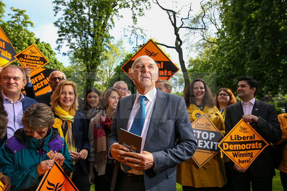 © Licensed to London News Pictures. 10/05/2019. London, UK. Leader of Liberal Democrats, Vince Cable, MEP candidates and party activists in Camden, north London forthe Liberal Democrats European Union election campaign. Britain must hold European Parliament elections on 23rd May 2019 or leave the European Union with no deal on 1st June 2019 after Brexit was delayed until 31st October 2019, as Prime Minister, Theresa May failed to get her Brexit deal approved by Parliament. Photo credit: Dinendra Haria/LNP