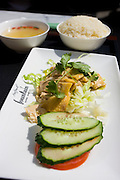 Modern dining - Hainan chicken with rice served at Fountain Bistro pavement cafe in Xintiandi, Huang Pi Road, Shanghai, China