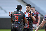 Kallum Watkins (3) of Salford Red Devils celebrates scoring a try to make it a 4-0 with Ken Sio (2) of Salford Red Devils