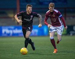 Arbroath's Ricky Little and Stenhousemuir's Alan Cook. Stenhousemuir 1 v 4 Arbroath, Scottish Football League Division One play12/1/2019 at Ochilview Park.