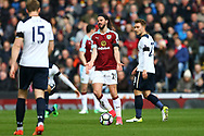 George Boyd of Burnley complains when a free kick is awarded against him. Premier League match, Burnley v Tottenham Hotspur at Turf Moor in Burnley , Lancs on Saturday 1st April 2017.<br /> pic by Chris Stading, Andrew Orchard sports photography.