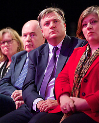 Labour Party Conference<br /> at Manchester Central, Manchester, Great Britain <br /> 24th September 2014 <br /> <br /> Yvette Cooper MP <br /> Shadow Home Secretary <br /> Stronger, Safer Communities <br /> <br /> Ed Balls watching speech <br /> <br /> Photograph by Elliott Franks <br /> Image licensed to Elliott Franks Photography Services