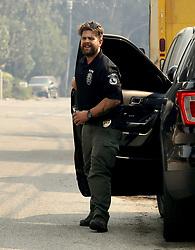 EXCLUSIVE: Jack Osbourne serves as badged and suited up as Malibu Police to help in Malibu fires. 10 Nov 2018 Pictured: Jack Osbourne. Photo credit: APEX / MEGA TheMegaAgency.com +1 888 505 6342